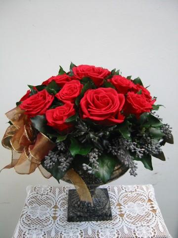 真紅のバラのアレンジ